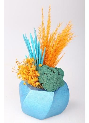 Kibrithane Çiçek Yapay Çiçek  Beton Saksı Kuru Çiçek Aranjman Kc00200746 Renkli